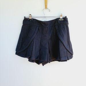 Ryu Black Wool Pleated Mini Kilt Shorts